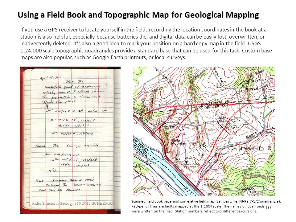 Using a Field Book and Topographic Map for Geological Mapping
