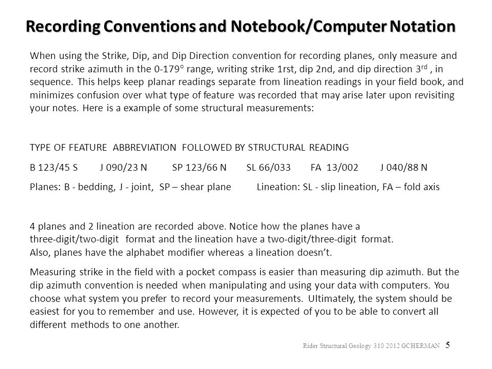 Recording Conventions and Notebook/Computer Notation