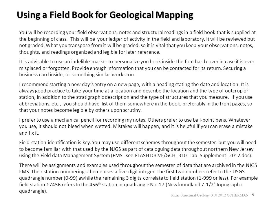 Using a Field Book for Geological Mapping