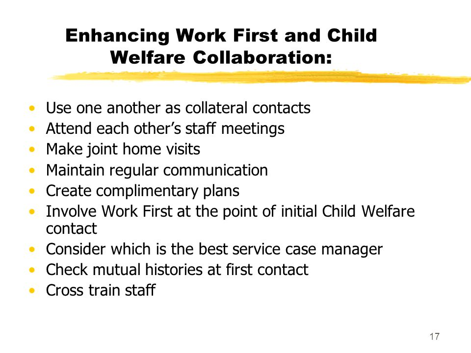 Enhancing Work First and Child Welfare Collaboration: