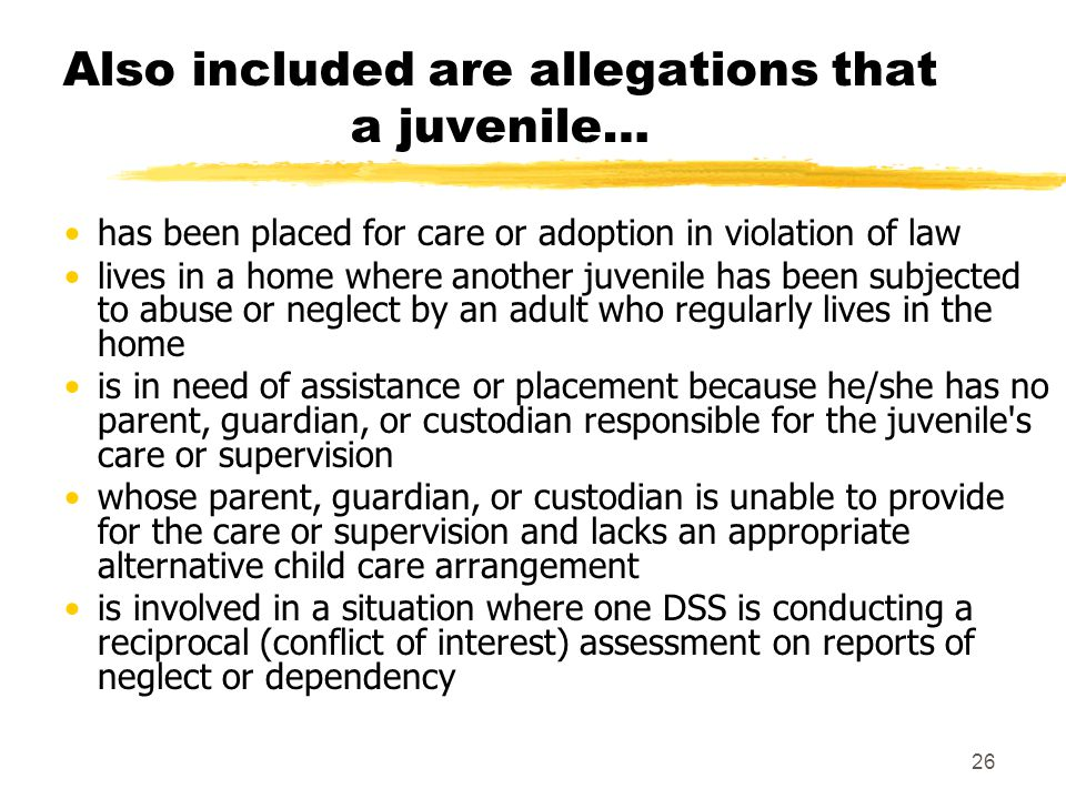 Also included are allegations that a juvenile…