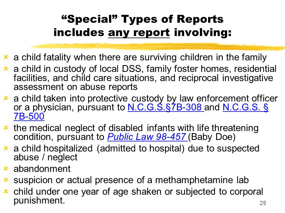 Special Types of Reports includes any report involving:
