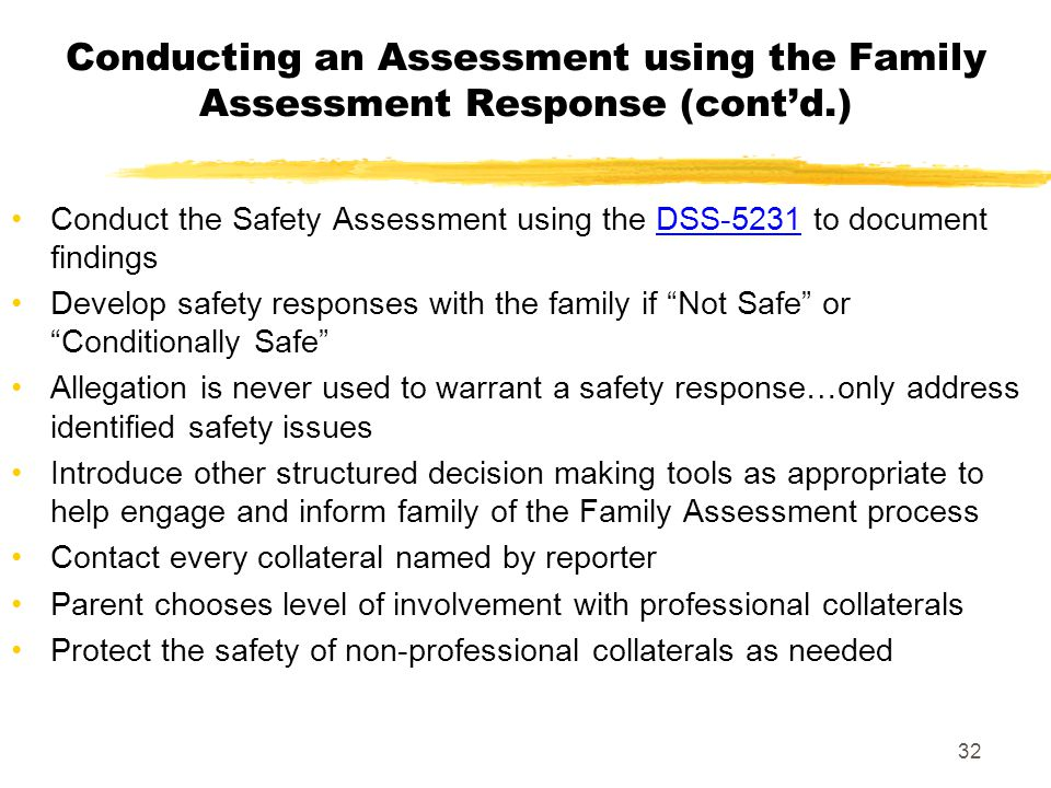 Conducting an Assessment using the Family Assessment Response (cont'd