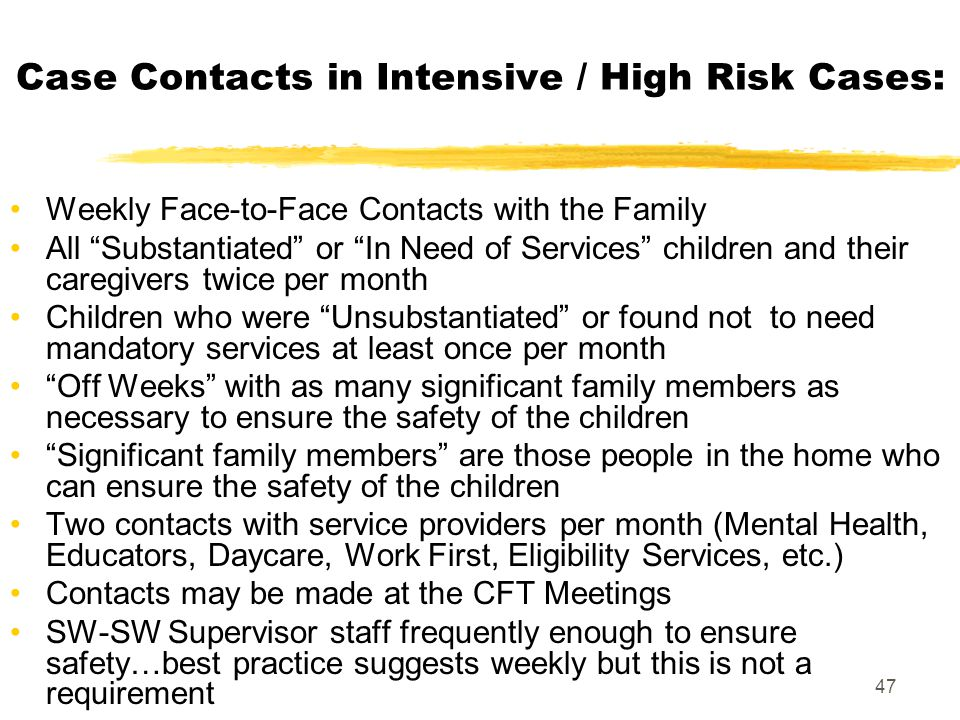Case Contacts in Intensive / High Risk Cases: