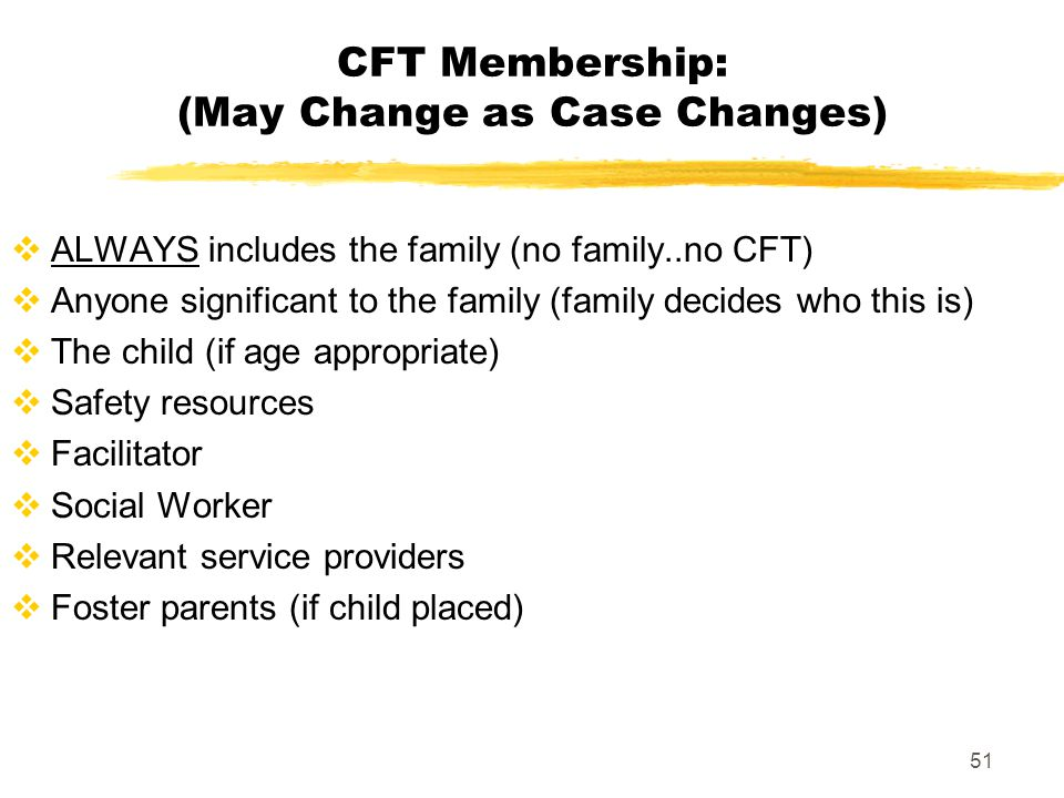CFT Membership: (May Change as Case Changes)
