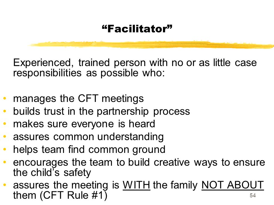 Facilitator Experienced, trained person with no or as little case responsibilities as possible who: