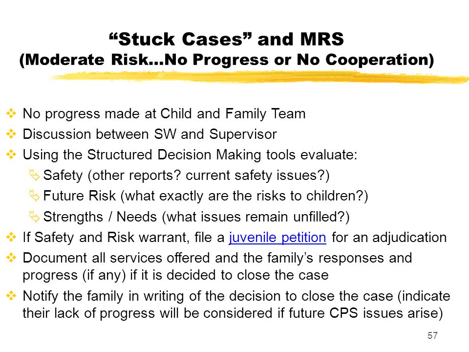 Stuck Cases and MRS (Moderate Risk…No Progress or No Cooperation)