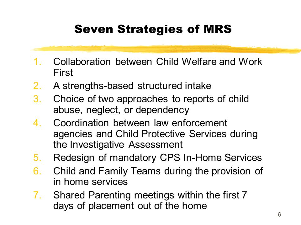 Seven Strategies of MRS