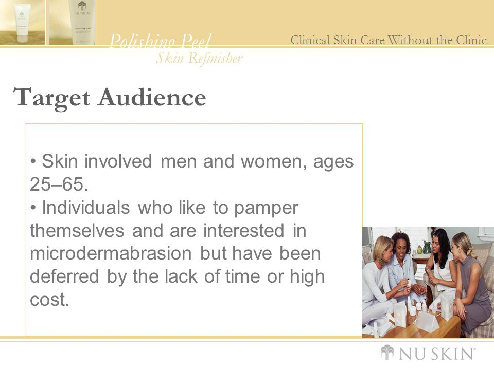 Target Audience Skin involved men and women, ages 25–65.