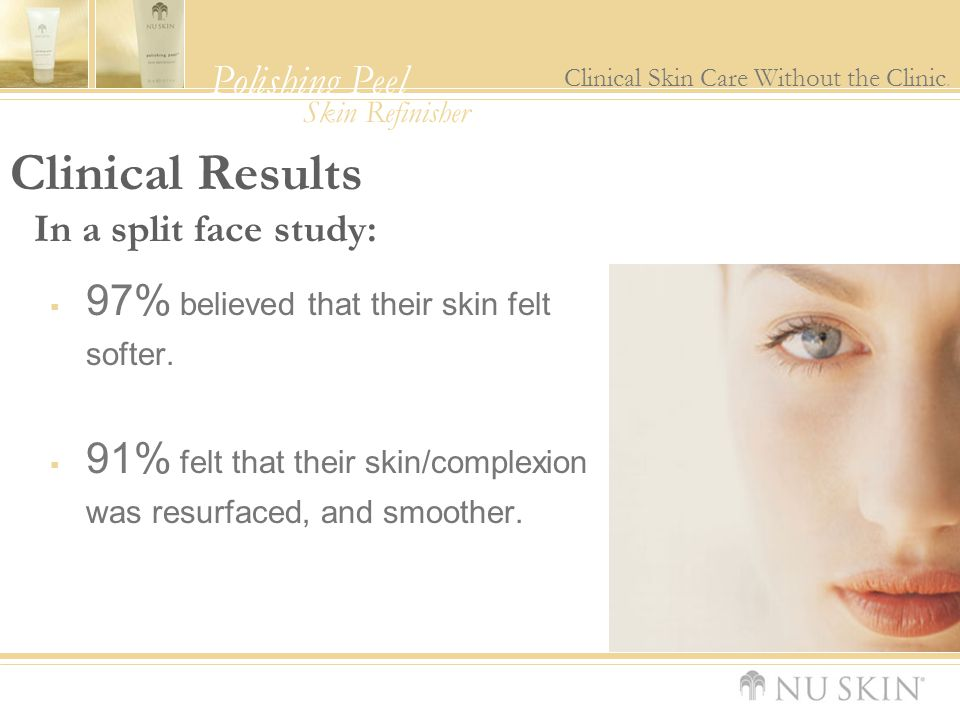Clinical Results 97% believed that their skin felt softer.