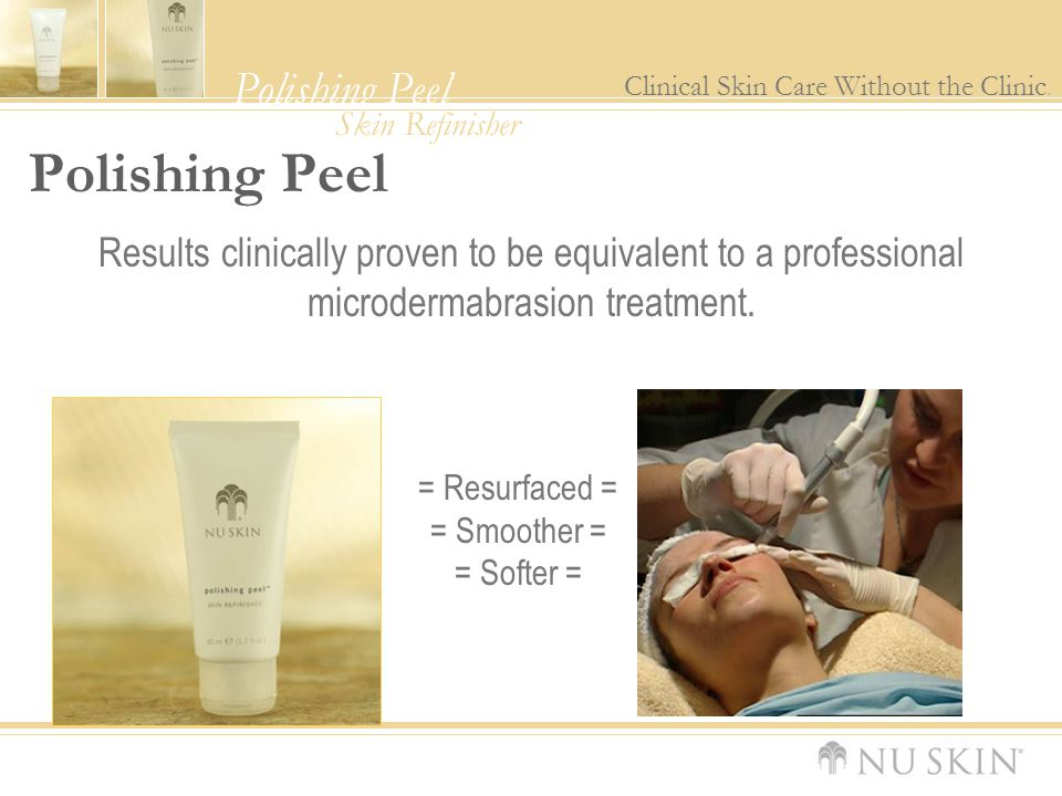 Polishing Peel Results clinically proven to be equivalent to a professional microdermabrasion treatment.