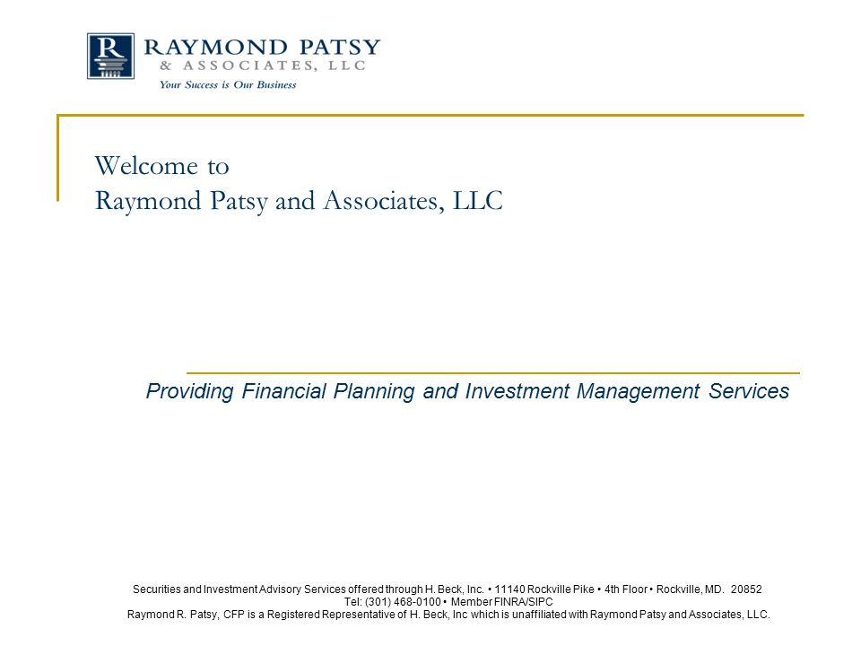 Welcome to Raymond Patsy and Associates, LLC