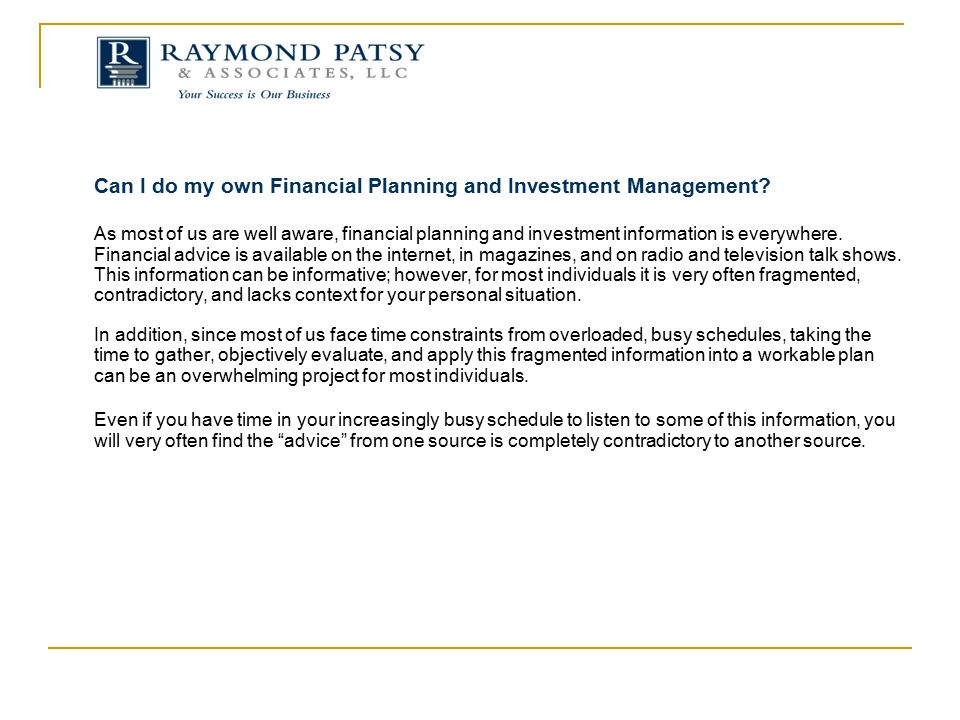 Can I do my own Financial Planning and Investment Management