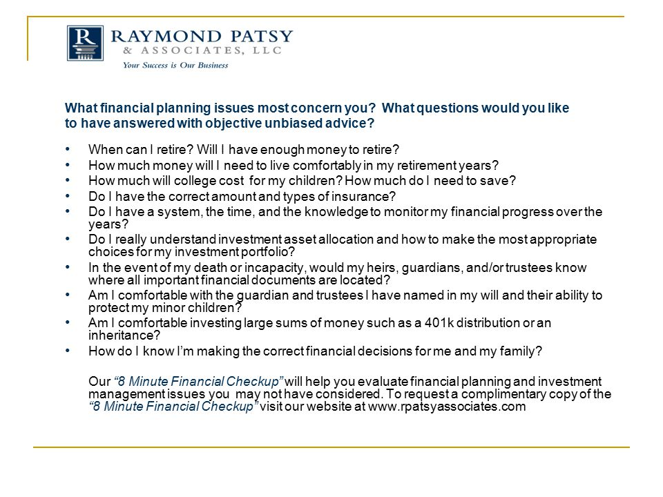 What financial planning issues most concern you