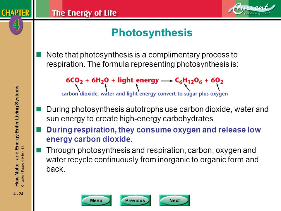 Photosynthesis Note that photosynthesis is a complimentary process to respiration. The formula representing photosynthesis is: