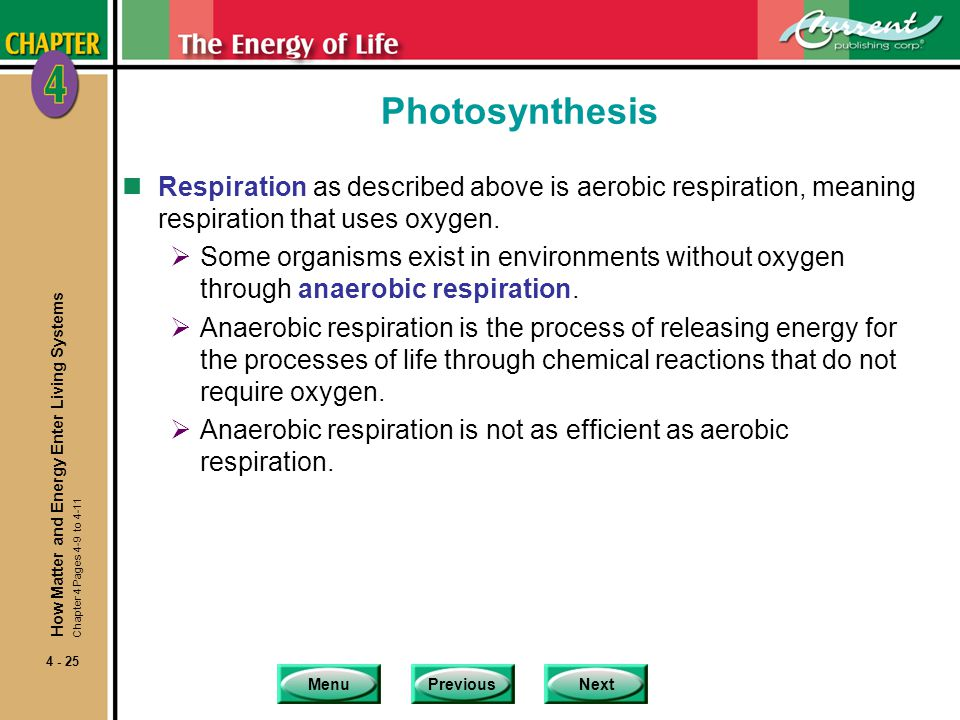 Photosynthesis Respiration as described above is aerobic respiration, meaning respiration that uses oxygen.