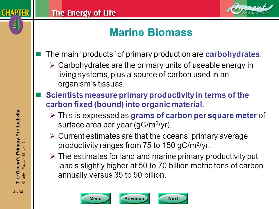 Marine Biomass The main products of primary production are carbohydrates.