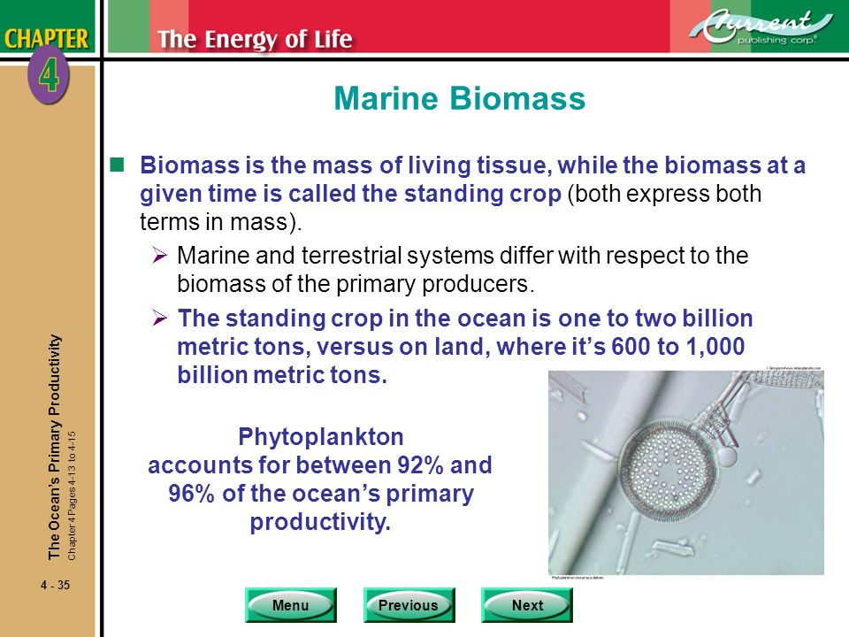Marine Biomass Biomass is the mass of living tissue, while the biomass at a given time is called the standing crop (both express both terms in mass).