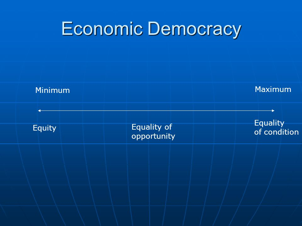 Economic Democracy Minimum Maximum Equality Equity Equality of