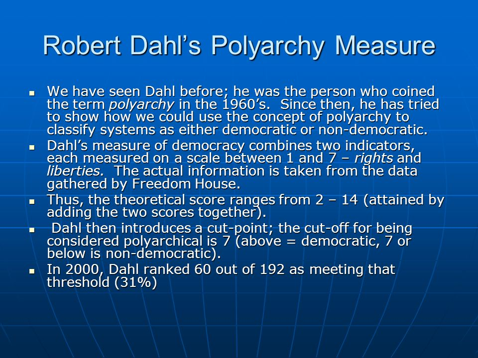 Robert Dahl's Polyarchy Measure