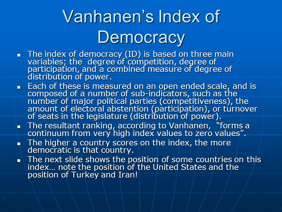 Vanhanen's Index of Democracy