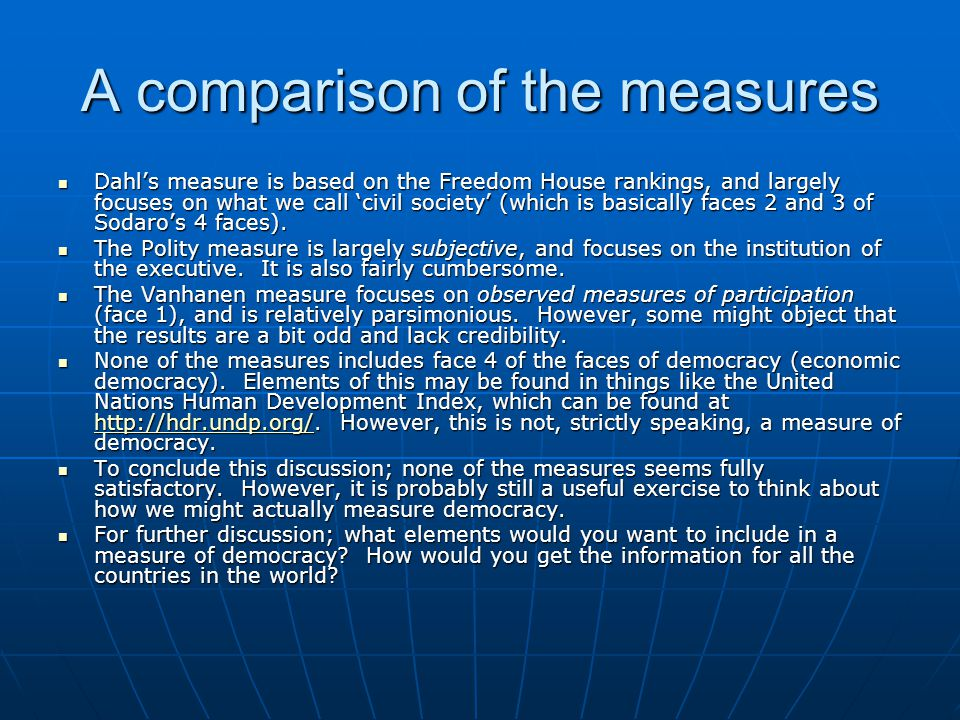 A comparison of the measures