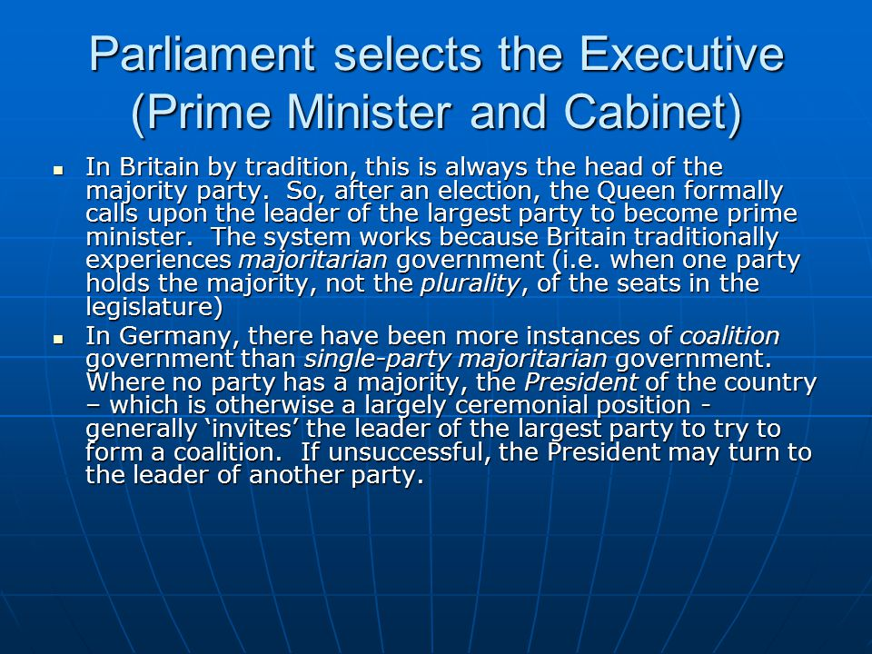 Parliament selects the Executive (Prime Minister and Cabinet)