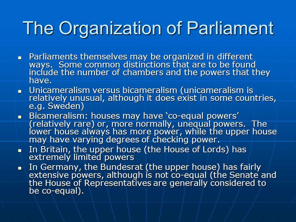 The Organization of Parliament