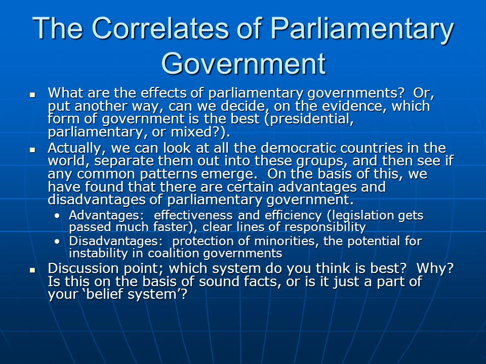 The Correlates of Parliamentary Government