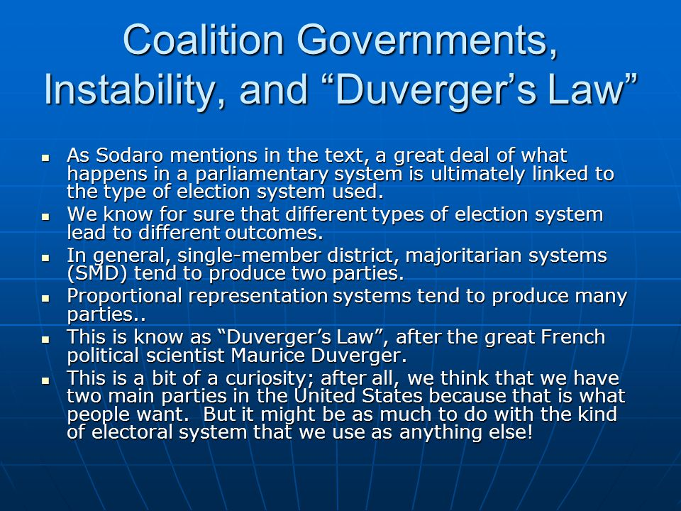 Coalition Governments, Instability, and Duverger's Law