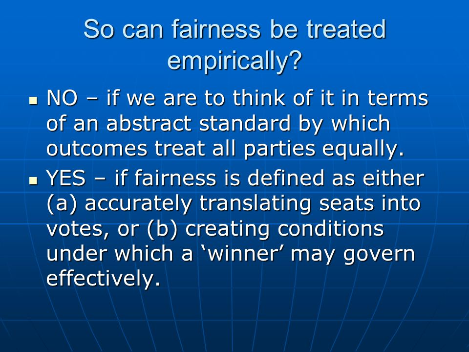 So can fairness be treated empirically