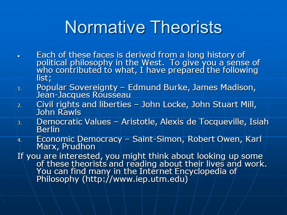 Normative Theorists