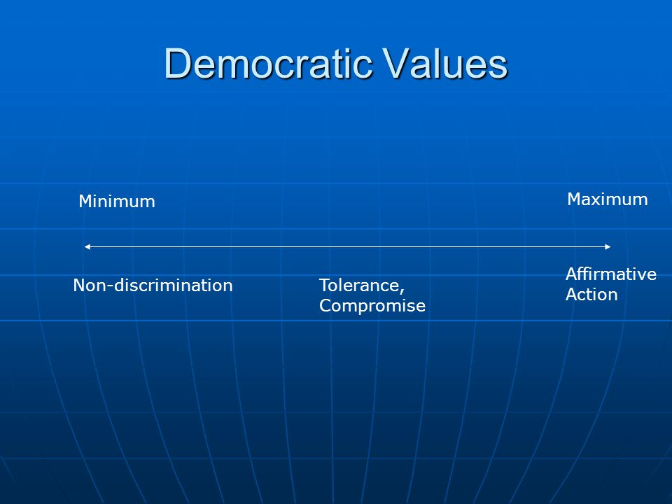 Democratic Values Minimum Maximum Affirmative Action
