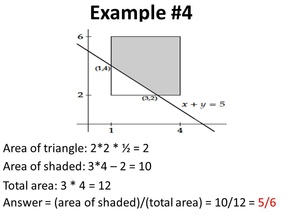 Example #4 Area of triangle: 2*2 * ½ = 2 Area of shaded: 3*4 – 2 = 10