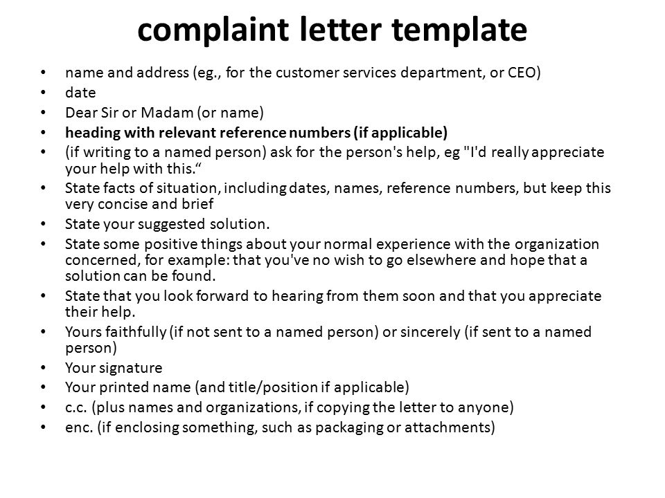 Letter of Complaint ppt download – Complaint Letters Template