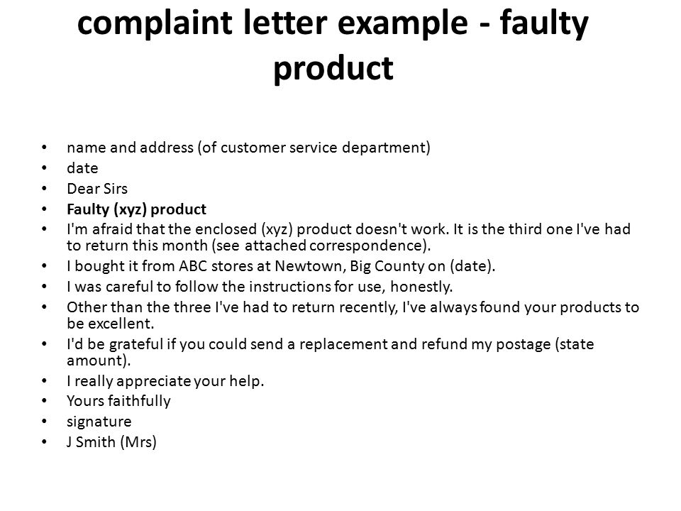 Letter of complaint ppt video online download complaint letter example faulty product spiritdancerdesigns