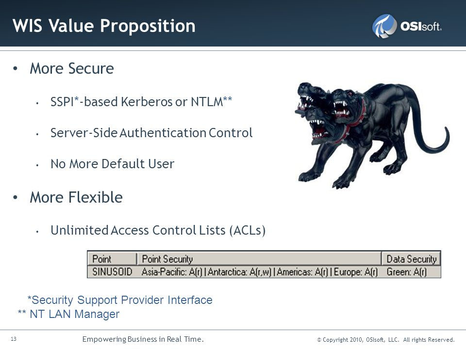 WIS Value Proposition More Secure More Flexible