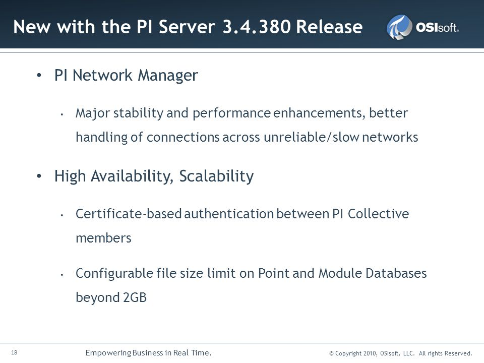 New with the PI Server 3.4.380 Release