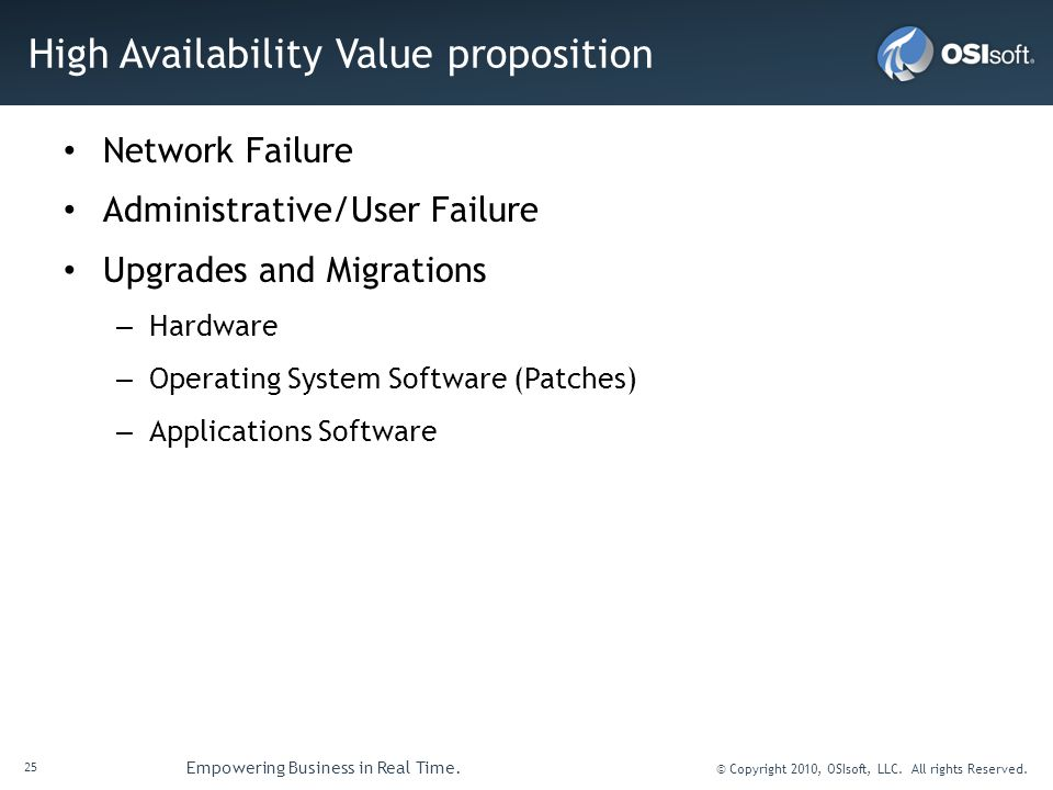 High Availability Value proposition