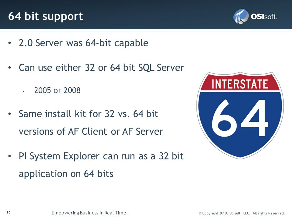 64 bit support 2.0 Server was 64-bit capable