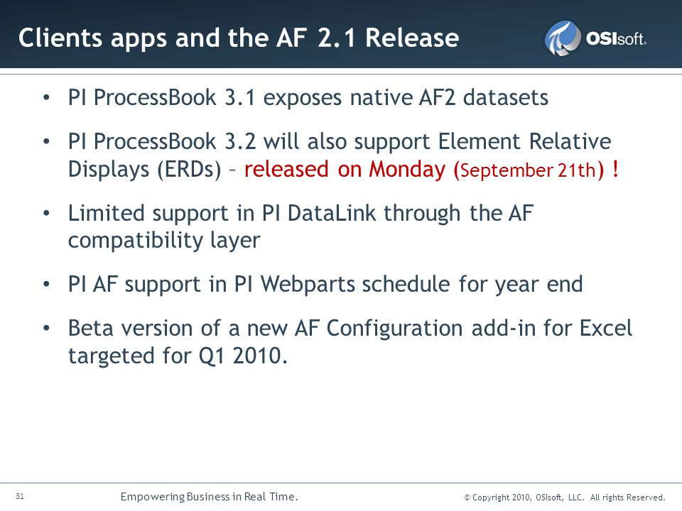 Clients apps and the AF 2.1 Release