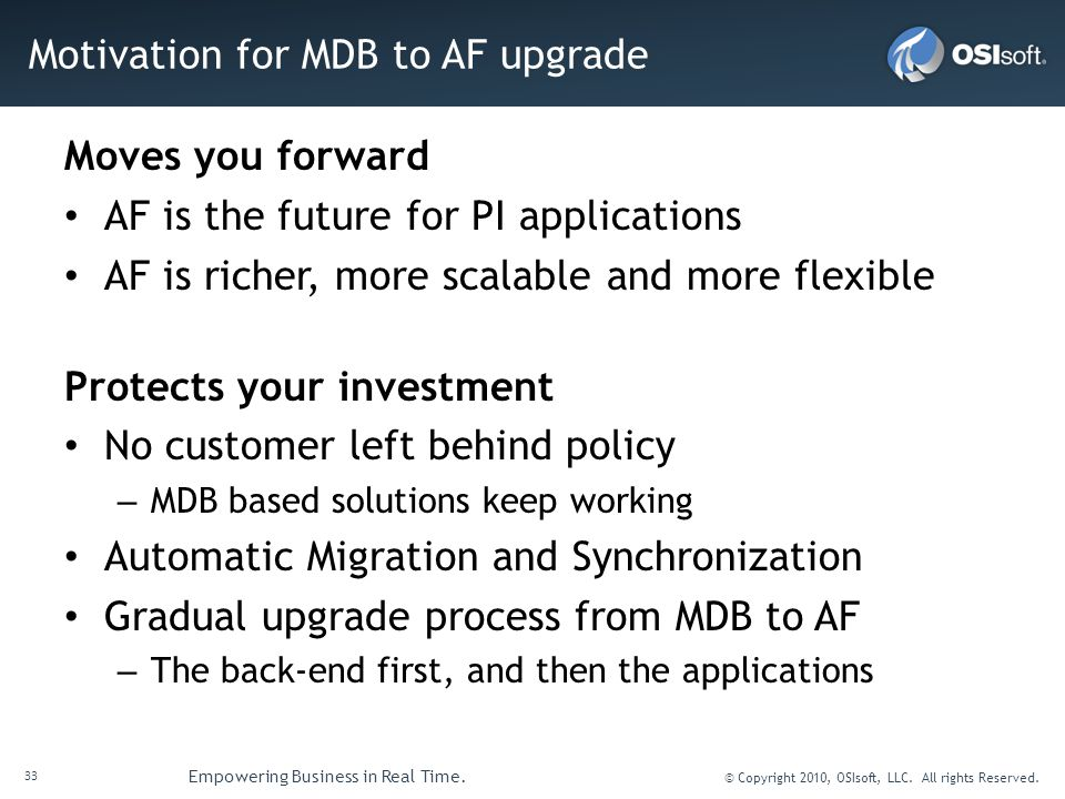 Motivation for MDB to AF upgrade