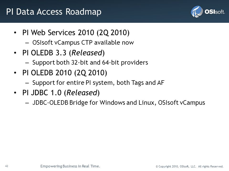 PI Data Access Roadmap PI Web Services 2010 (2Q 2010)