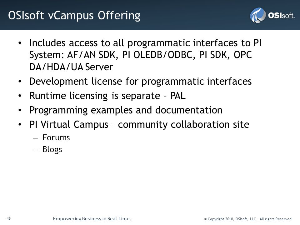 OSIsoft vCampus Offering