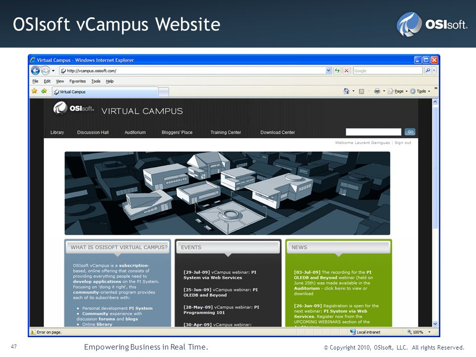 OSIsoft vCampus Website