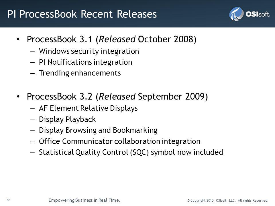 PI ProcessBook Recent Releases