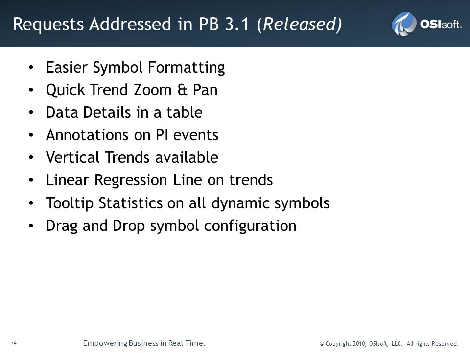 Requests Addressed in PB 3.1 (Released)