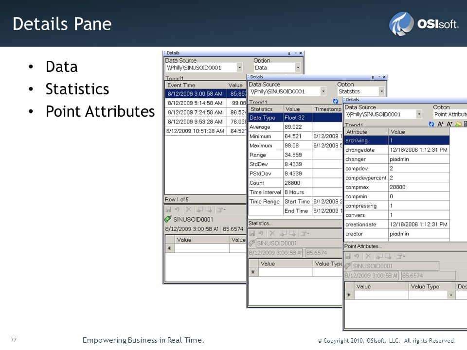 Details Pane Data Statistics Point Attributes