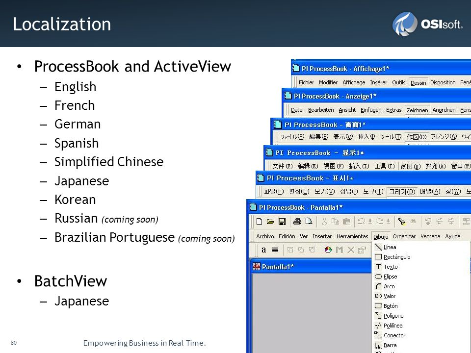 Localization ProcessBook and ActiveView BatchView English French