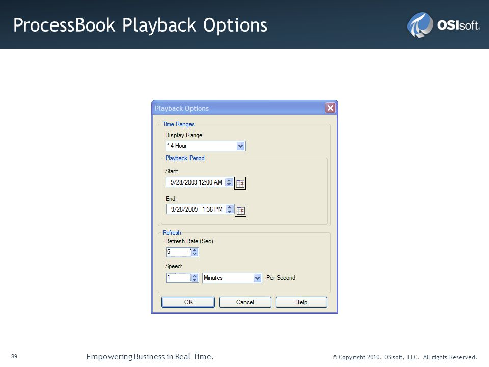 ProcessBook Playback Options
